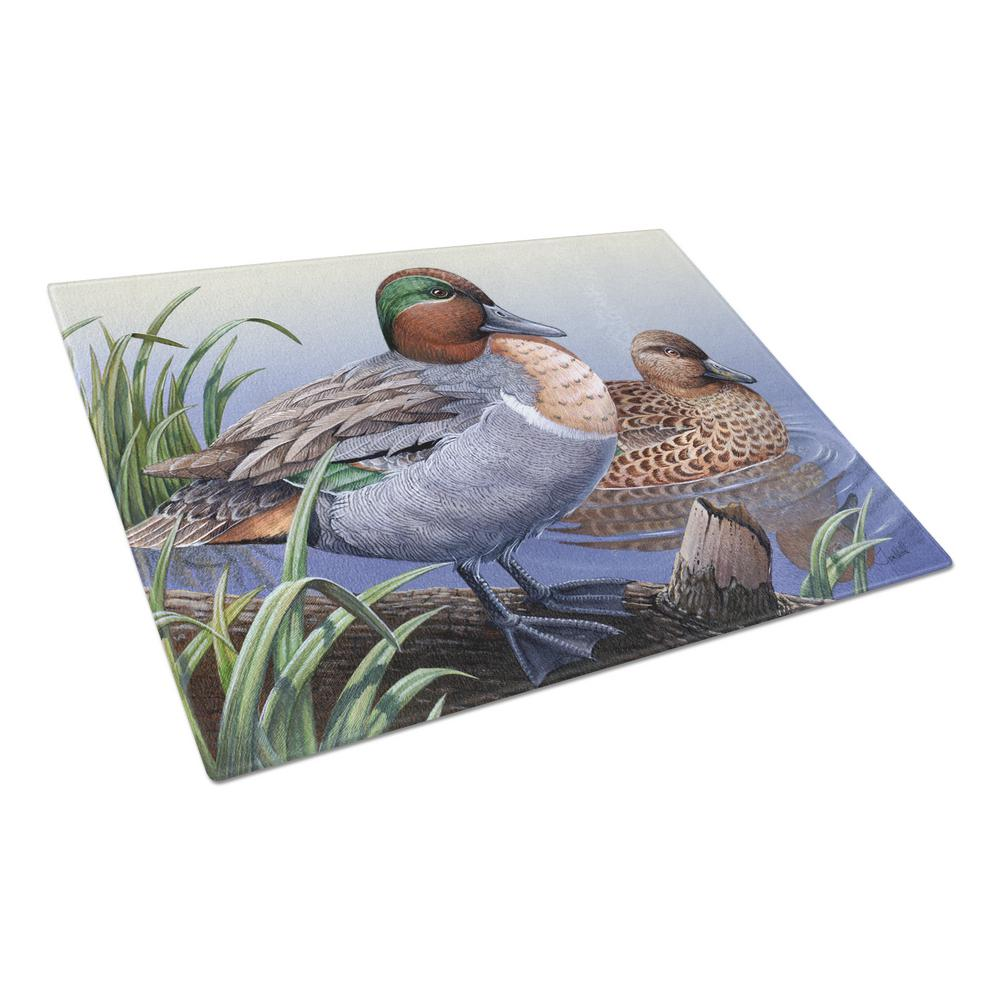 Green Teal Ducks in the Water Tempered Glass Large Cutting Board
