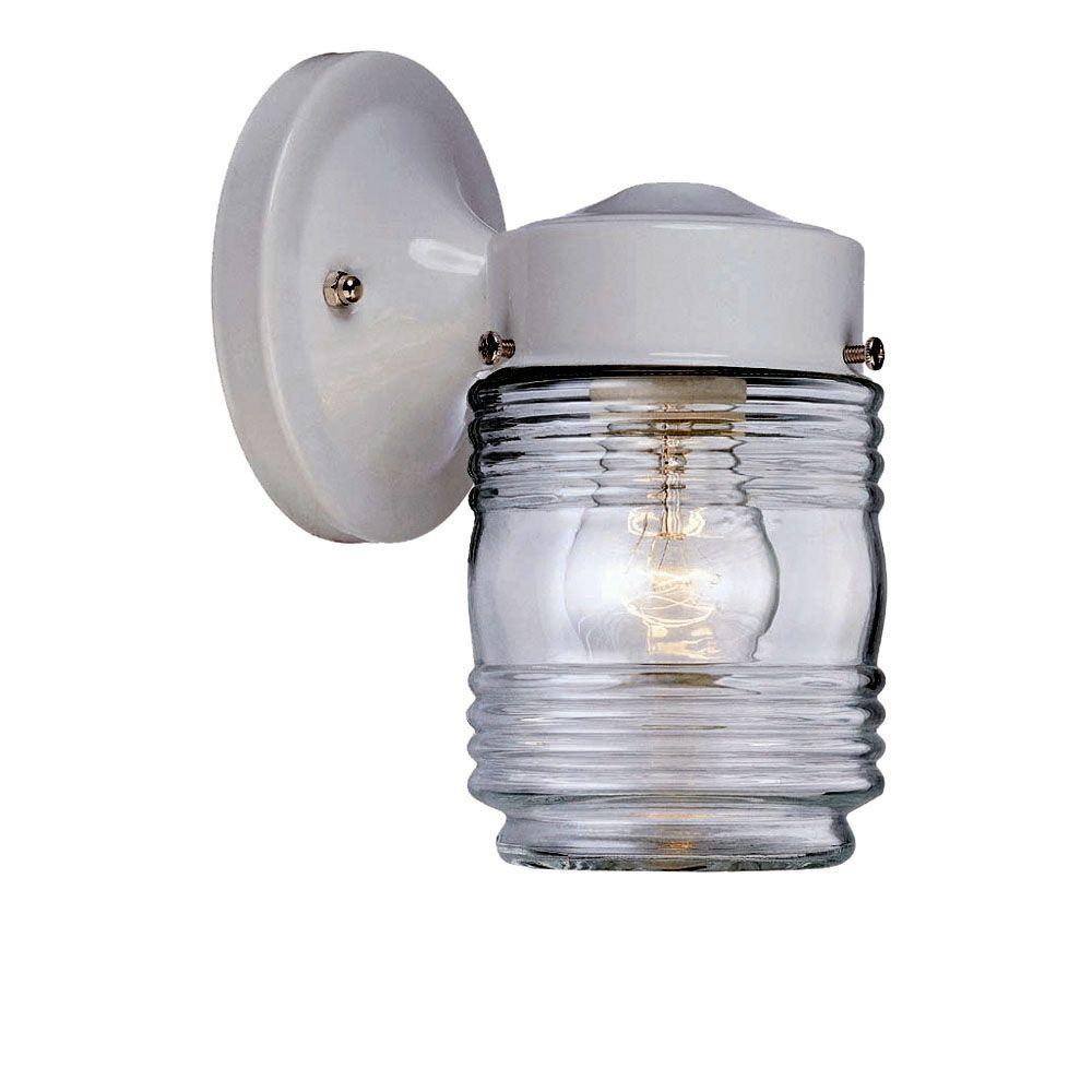 Builder's Choice Collection 1-Light White Outdoor Wall-Mount Light Fixture