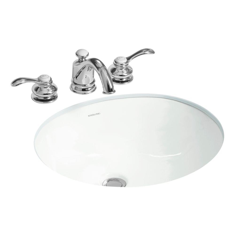 STERLING Wescott UnderMounted Vitreous China Bathroom Sink In White - Under counter bathroom sinks