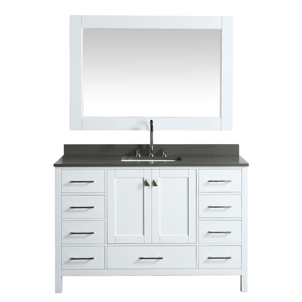 Design Element London 54 in. W x 22 in. D Vanity in White with Quartz Vanity Top in Gray with White Basin and Mirror