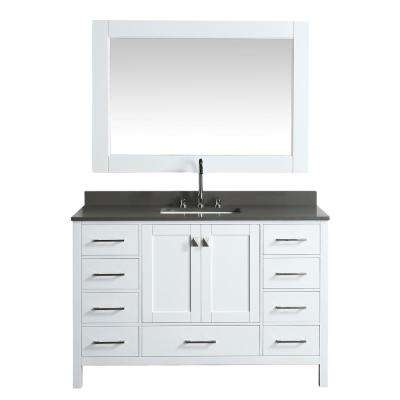 London 54 in. W x 22 in. D Vanity in White with Quartz Vanity Top in Gray with White Basin and Mirror