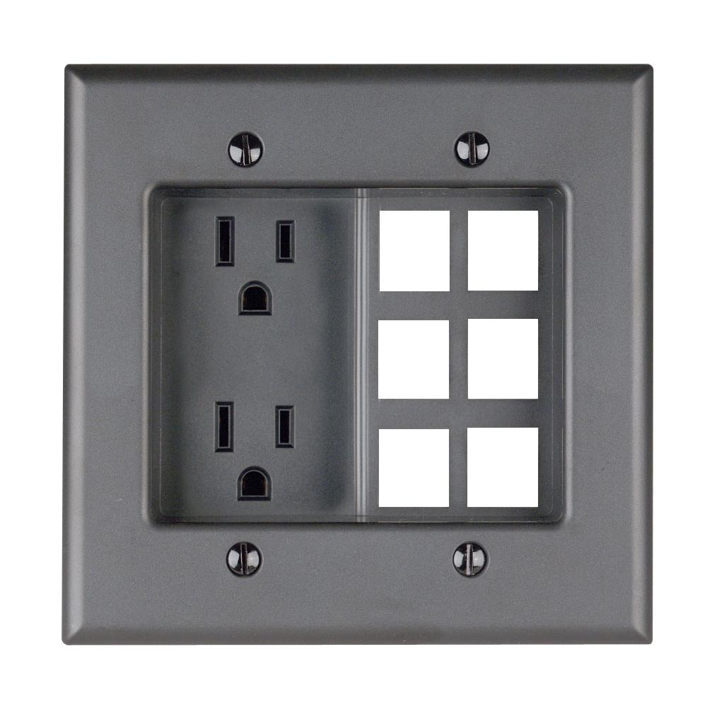 2-Gang Recessed Entertainment Box with Duplex Outlet and Openings for 6