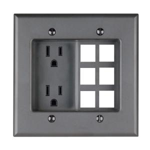 2-Gang Recessed Entertainment Box with Duplex Outlet and Openings for 6 QuickPort Connectors  sc 1 st  Home Depot & Leviton 2-Gang Recessed Entertainment Box with Duplex Outlet and ... azcodes.com