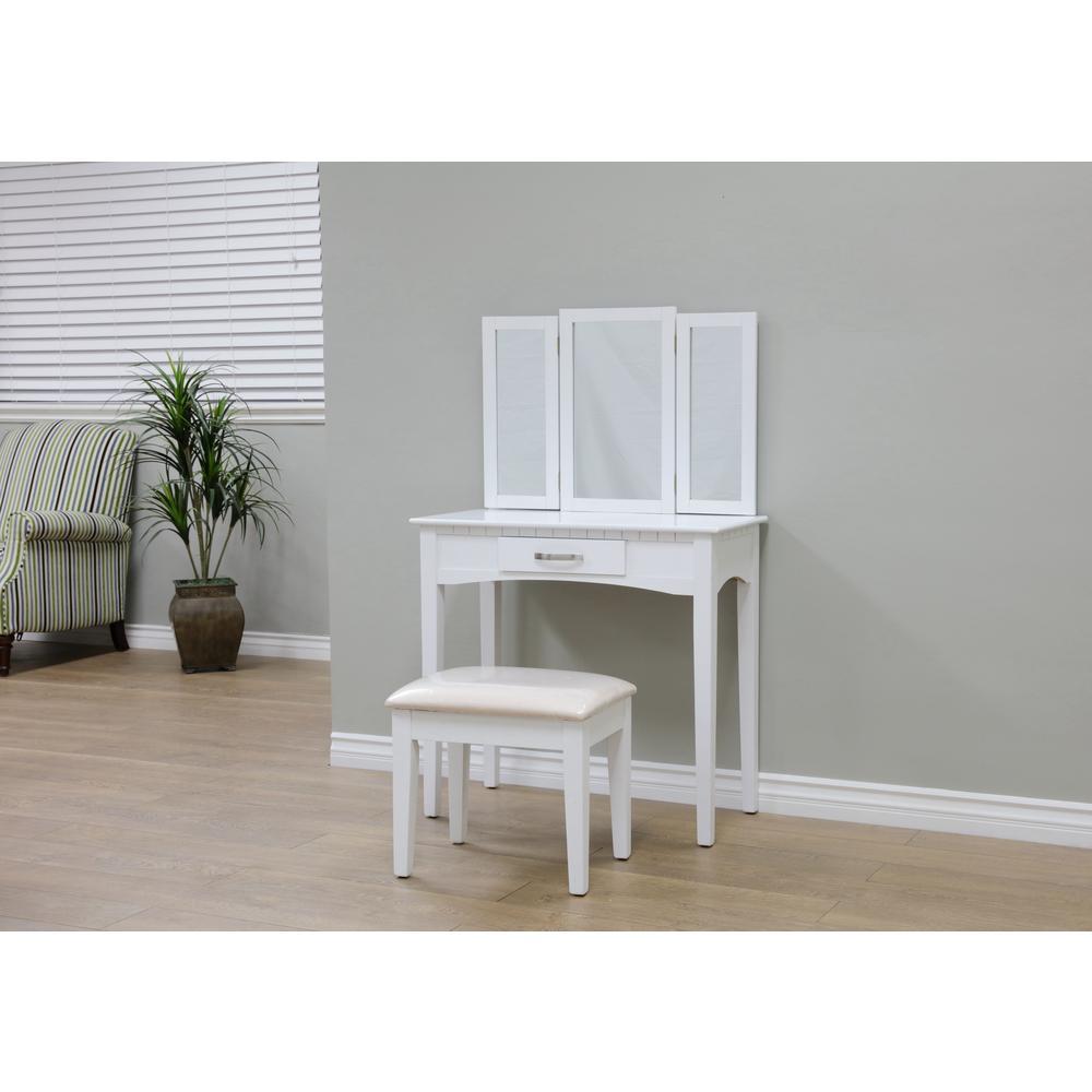 Homecraft Furniture Malachi 3-Piece White Bedroom Vanity Set ...