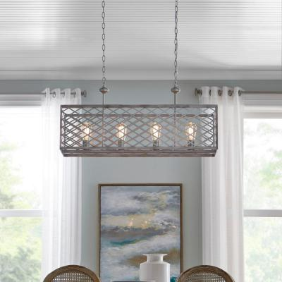 Wallace Manor Collection 35 in. 4-Light Gilded Pewter Linear Chandelier with Interweaving Open Cage Frame