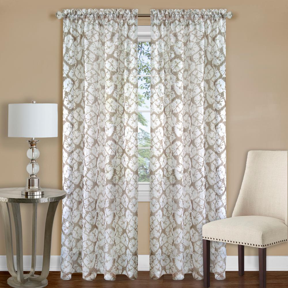Batik Tan Polyester Rod Pocket Curtain - 52 in. W x 63 in. L
