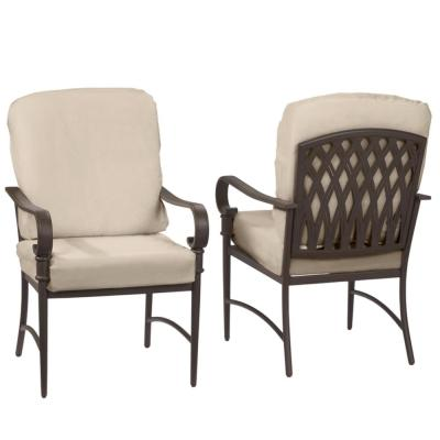 Oak Cliff Brown Steel Outdoor Patio Dining Chair with CushionGuard Putty Tan Cushions (2-Pack)
