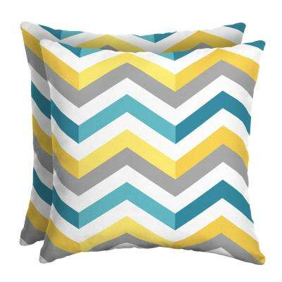 Geo Multi Chevron 16 in. Square Outdoor Throw Pillow (2-Pack)