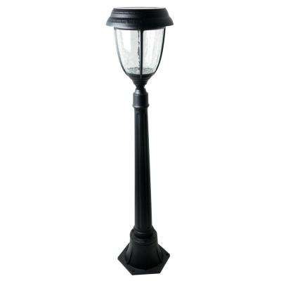 Timer Activated 12 hrs. 200 Lumen 42 in. Outdoor Black Solar LED Post Lamp