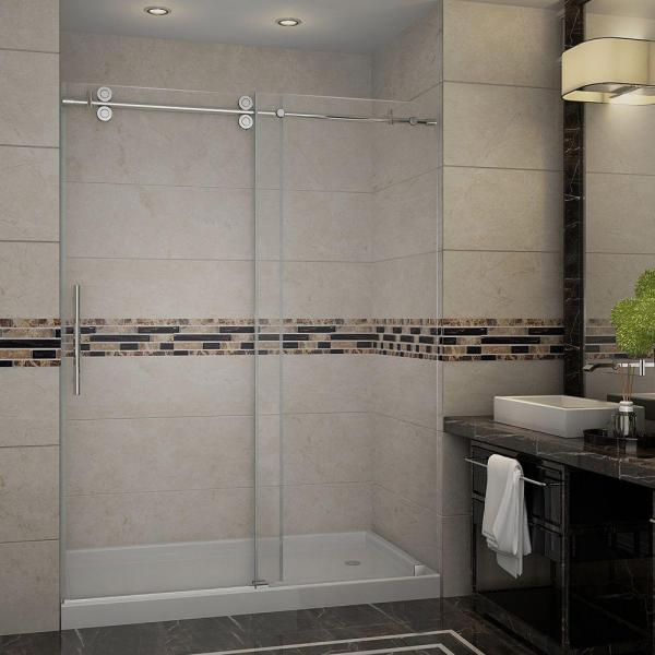 Aston Langham 60 In X 77 1 2 In Completely Frameless Sliding Shower Door In Stainless Steel With Base Sdr978 Tr Ss 60 10 R The Home Depot