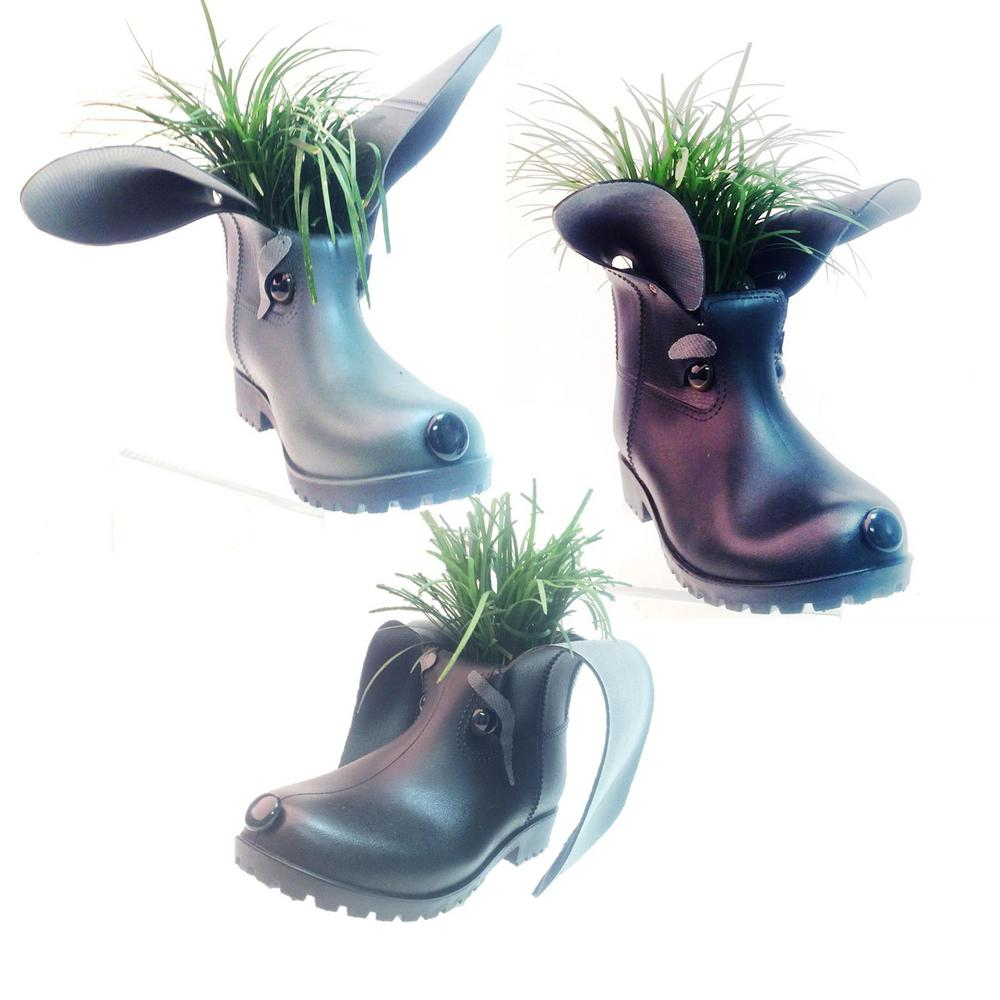 11 in. Boot Buddies Dog Sculpture and Planter Home and Garden