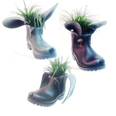11 in. Boot Buddies Dog Sculpture and Planter Home and Garden Boots Loyal Companion Figurines (3-Piece Set)