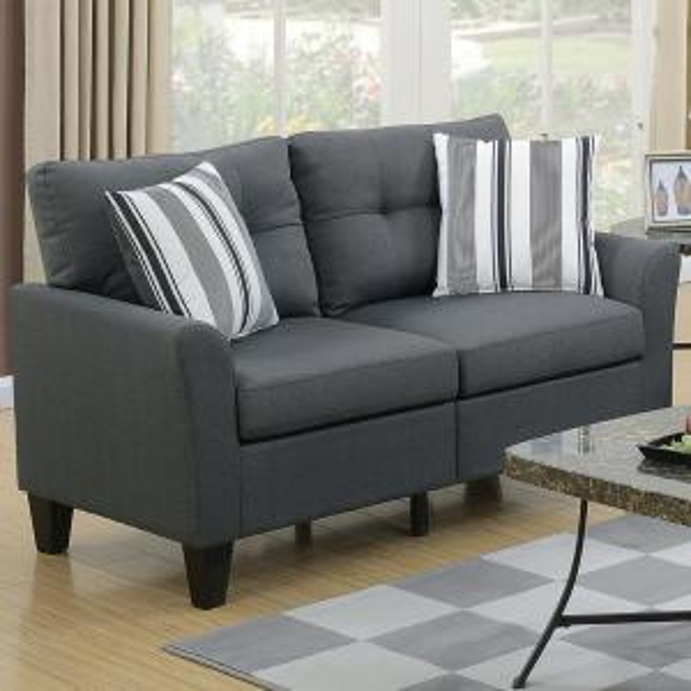 Venetian Worldwide Sardinia 2-Piece Charcoal Sofa Set VENE ...