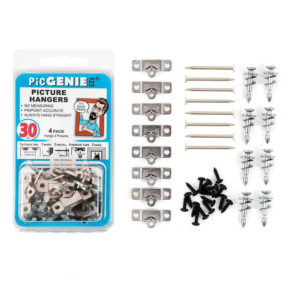 PicGenie123 Picture Hanging Kit  (40-Piece) - Hangs Pics up to 30 lbs. (4-Pack)