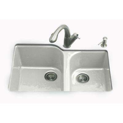 Executive Chef Undermount Cast-Iron 33 in. 4-Hole Double Bowl Kitchen Sink in Sea Salt