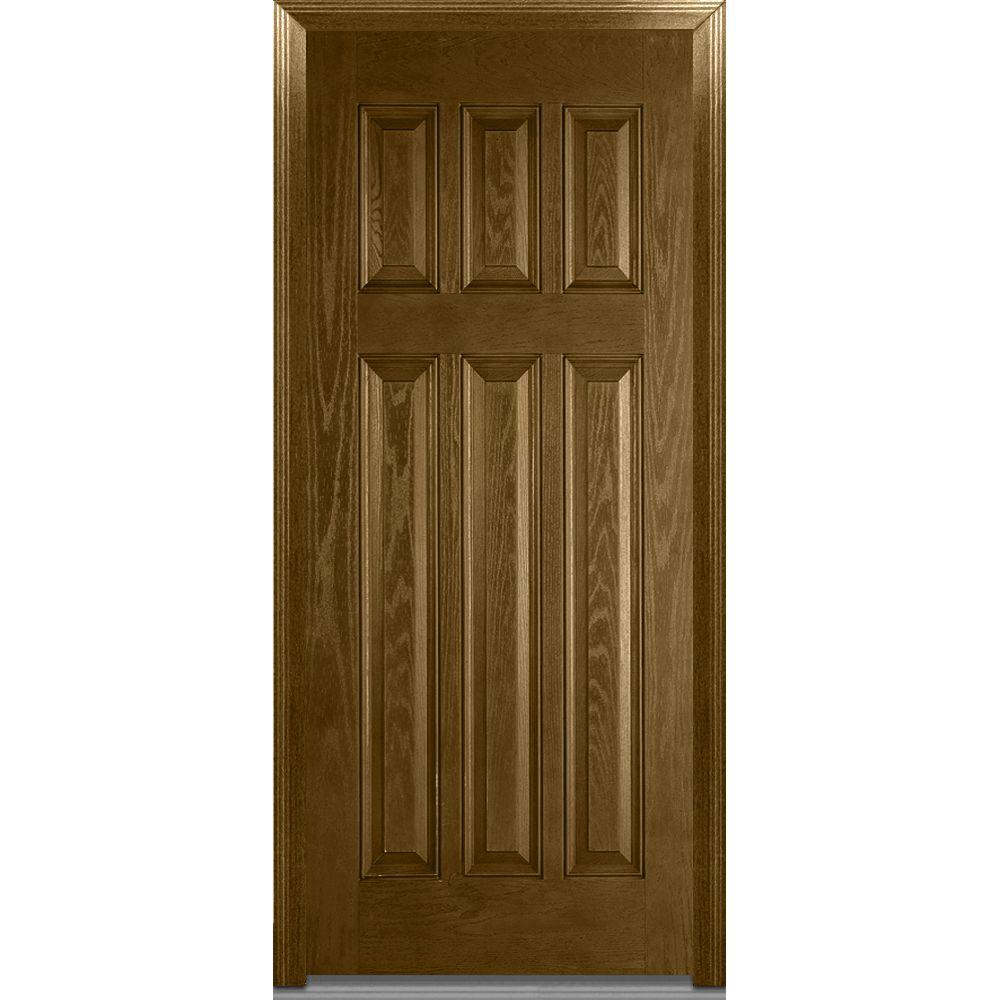 Mmi door 36 in x 80 in severe weather left hand outswing craftsman 6 panel classic stained 36 x 80 outswing exterior door