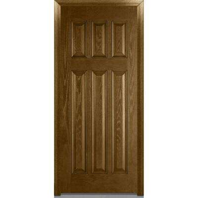 36 in. x 80 in. Severe Weather Right-Hand Outswing Craftsman 6-Panel Stained Fiberglass Oak Prehung Front Door