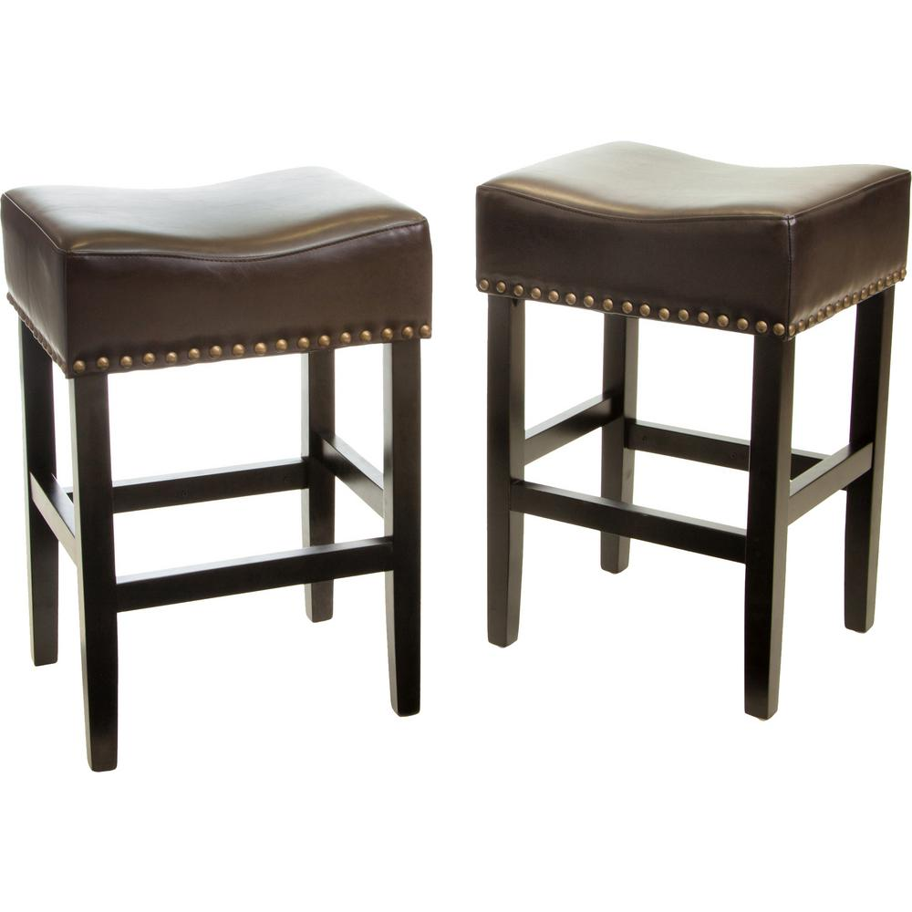NobleHouse Noble House Lisette 26 in. Brown Cushioned Counter stool (Set of 2)