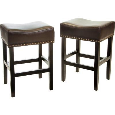 Lisette 26 in. Brown Cushioned Counter stool (Set of 2)
