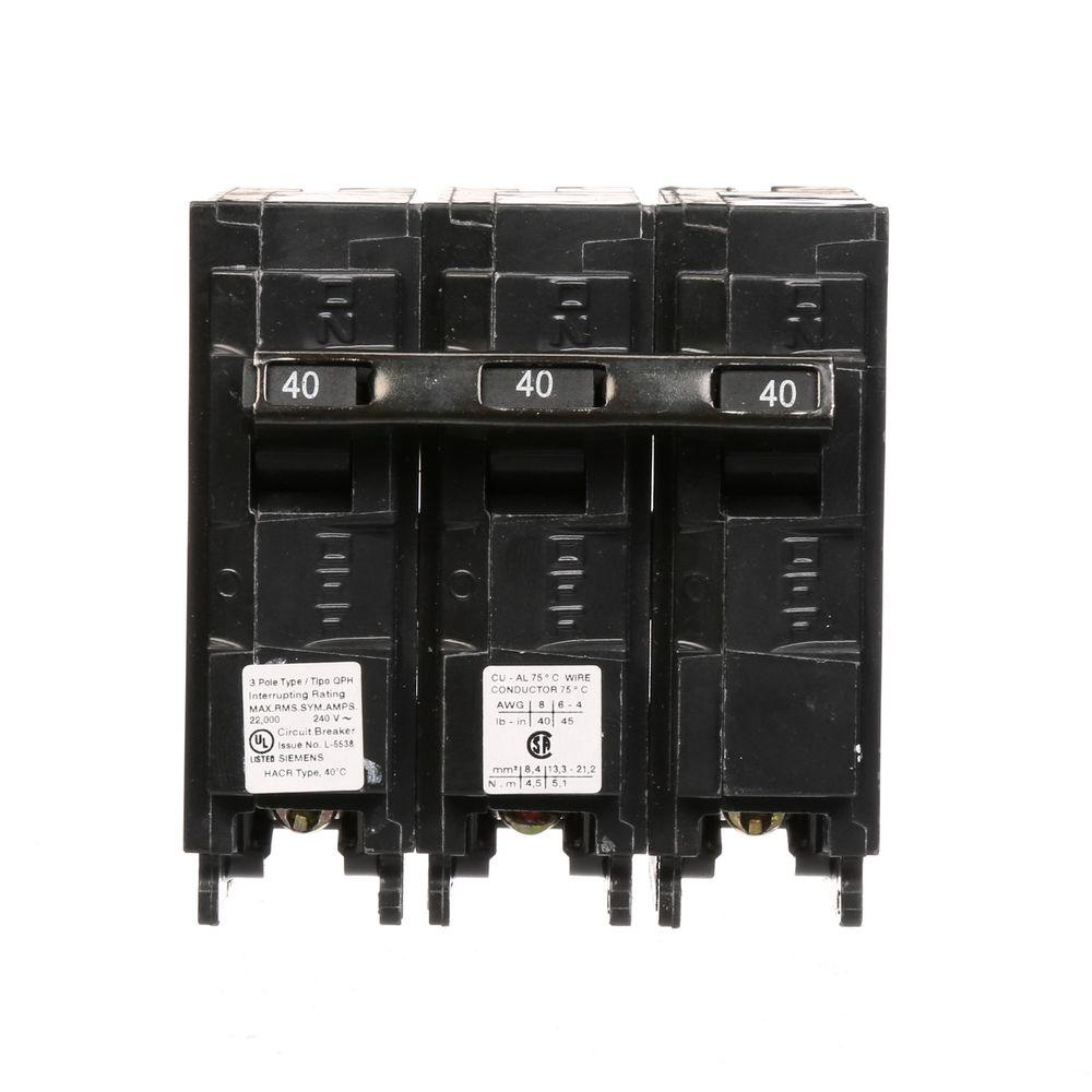 siemens 40 amp three pole type qph 22ka circuit breaker q340h the home depot. Black Bedroom Furniture Sets. Home Design Ideas