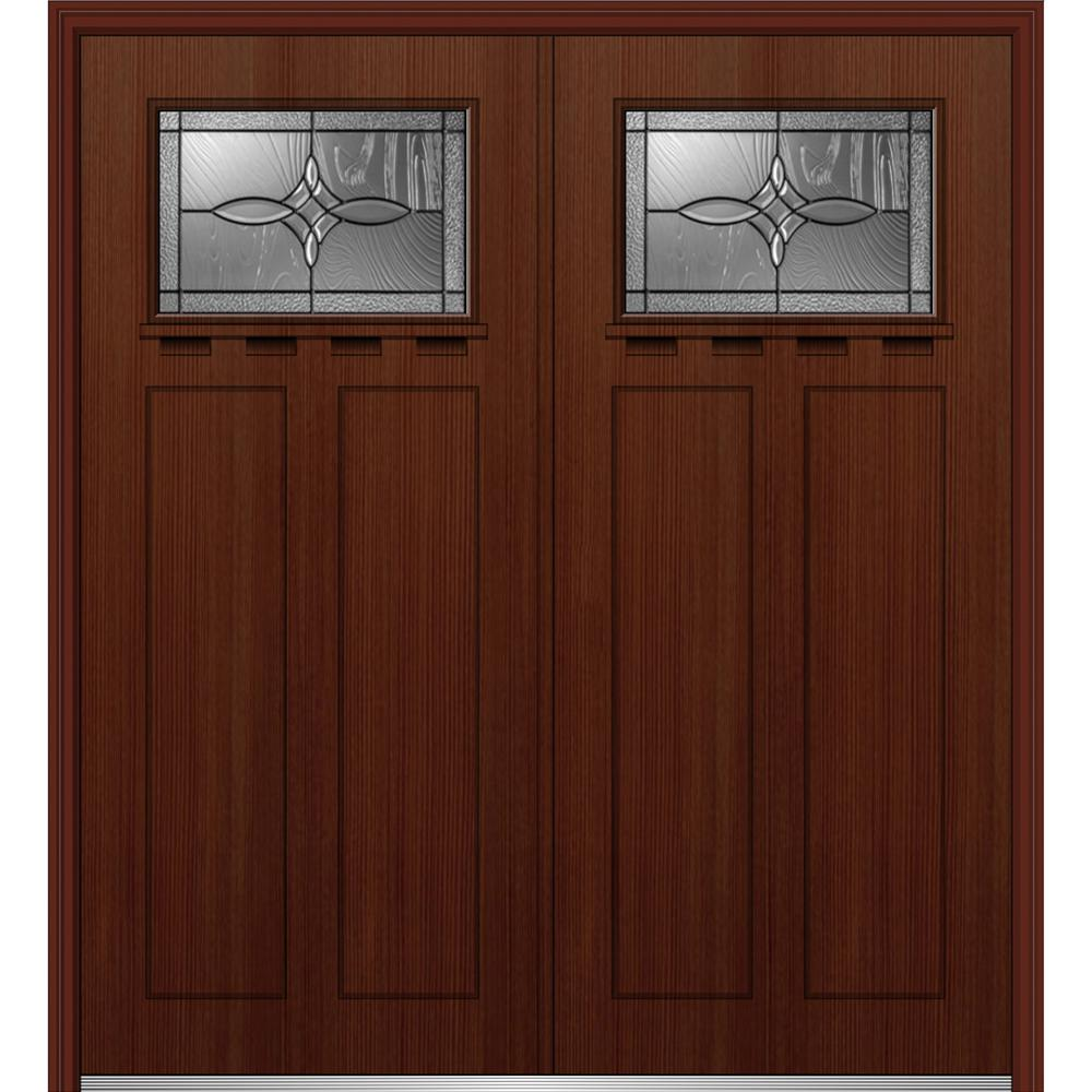 72 in. x 80 in. Lenora Left-Hand Inswing 1/4-Lite Decorative Stained