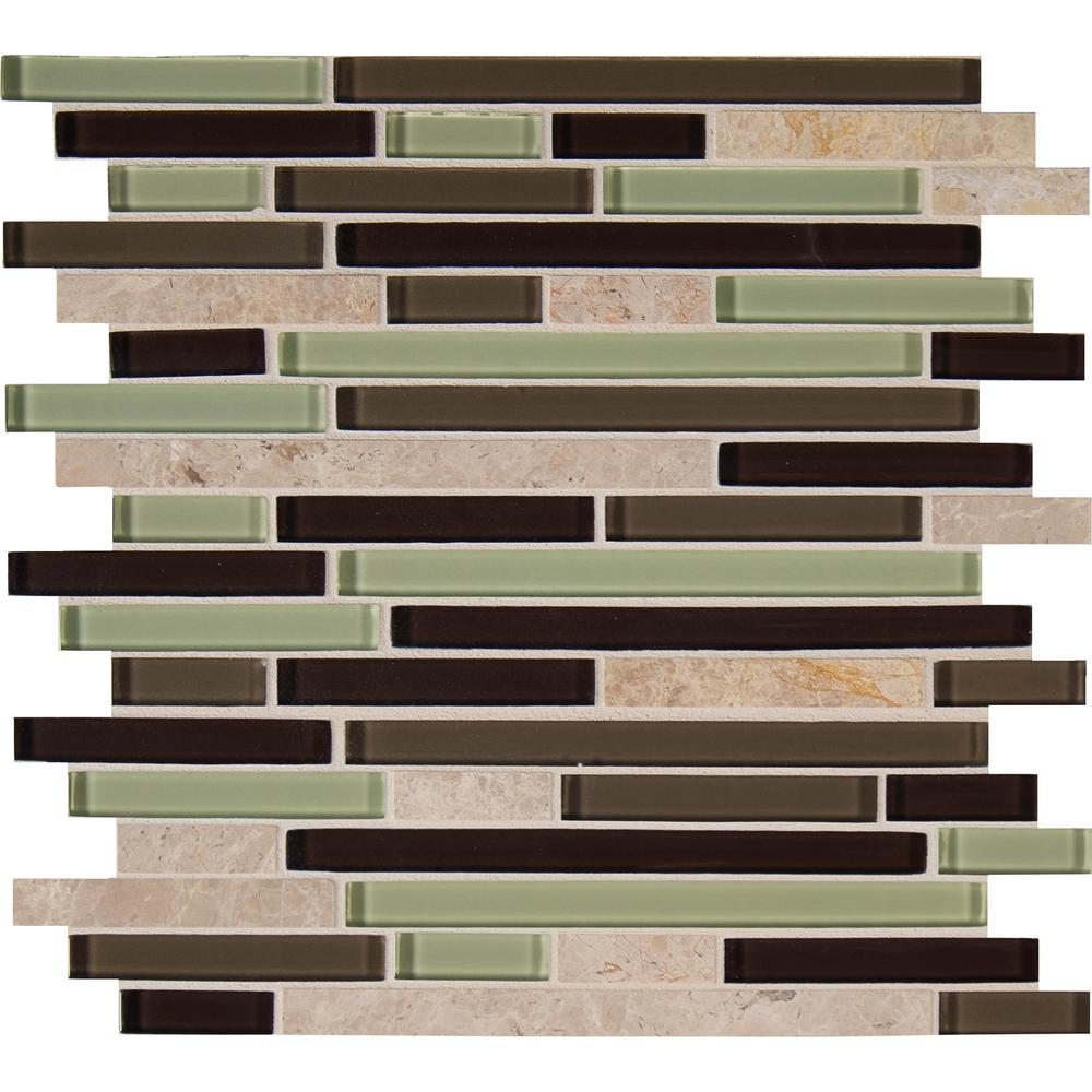 10 sq. ft., 10 pieces per case X 12 In M S International Stone Gate Interlocking 12 In X 8mm Glass//Stone Blend Mesh-Mounted Mosaic Wall Tile,