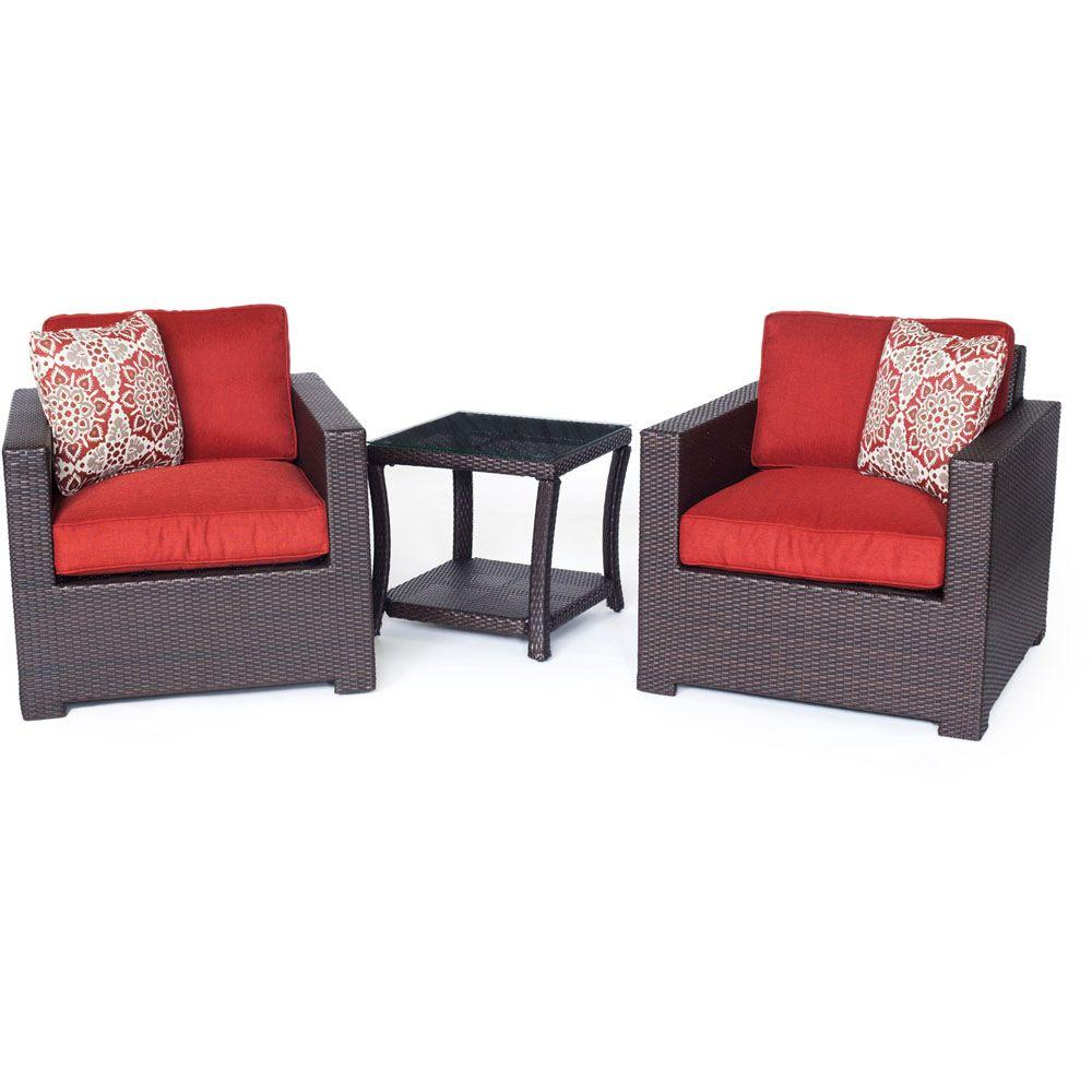 Metropolitan Brown 3-Piece All-Weather Wicker Patio Chat Set with Autumn Berry