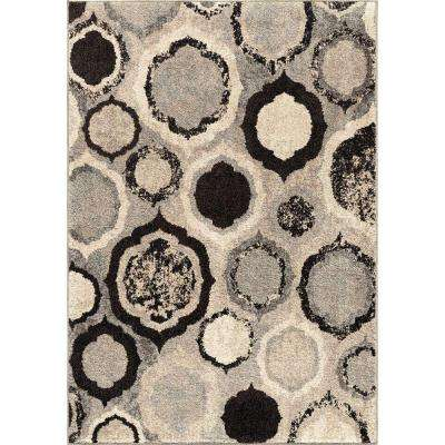 Handglass Gray 7 ft. 10 in. x 10 ft. 10 in. Plush Pile Circles Indoor Area Rug
