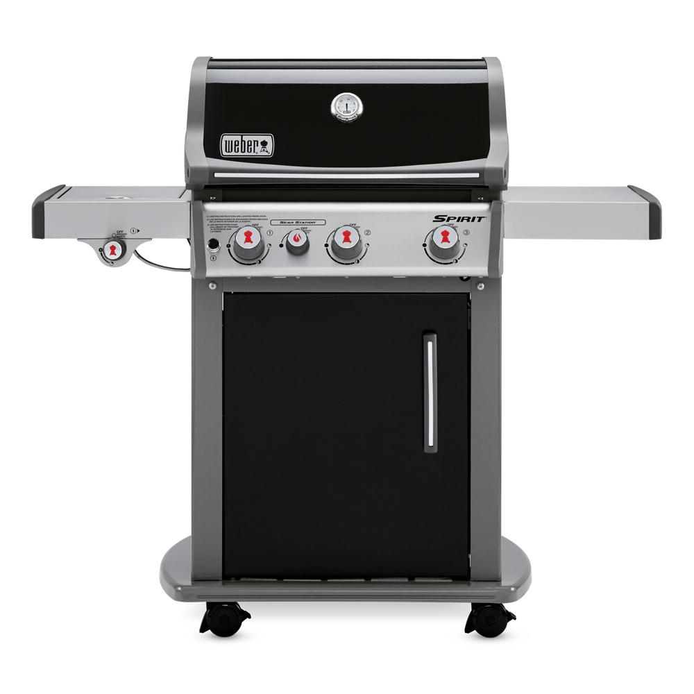 weber spirit e 330 3 burner liquid propane gas grill in black with built in thermometer 46810001