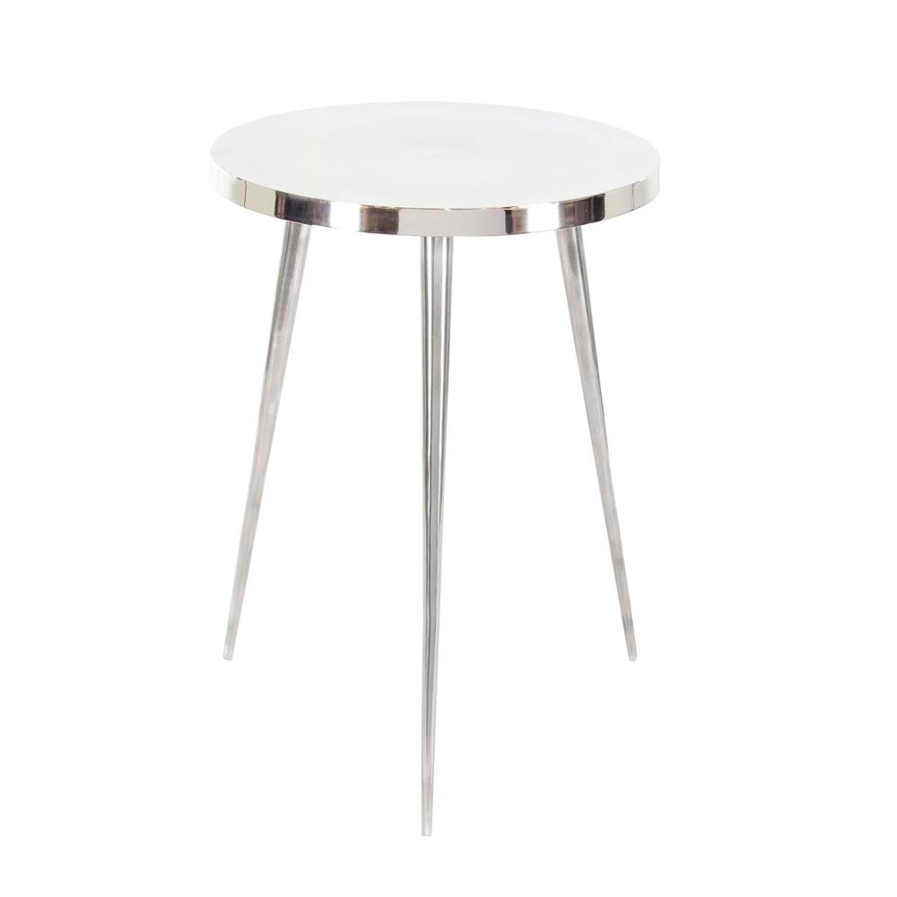 Litton Lane Aluminum Accent Table In Silver 68971 The Home Depot