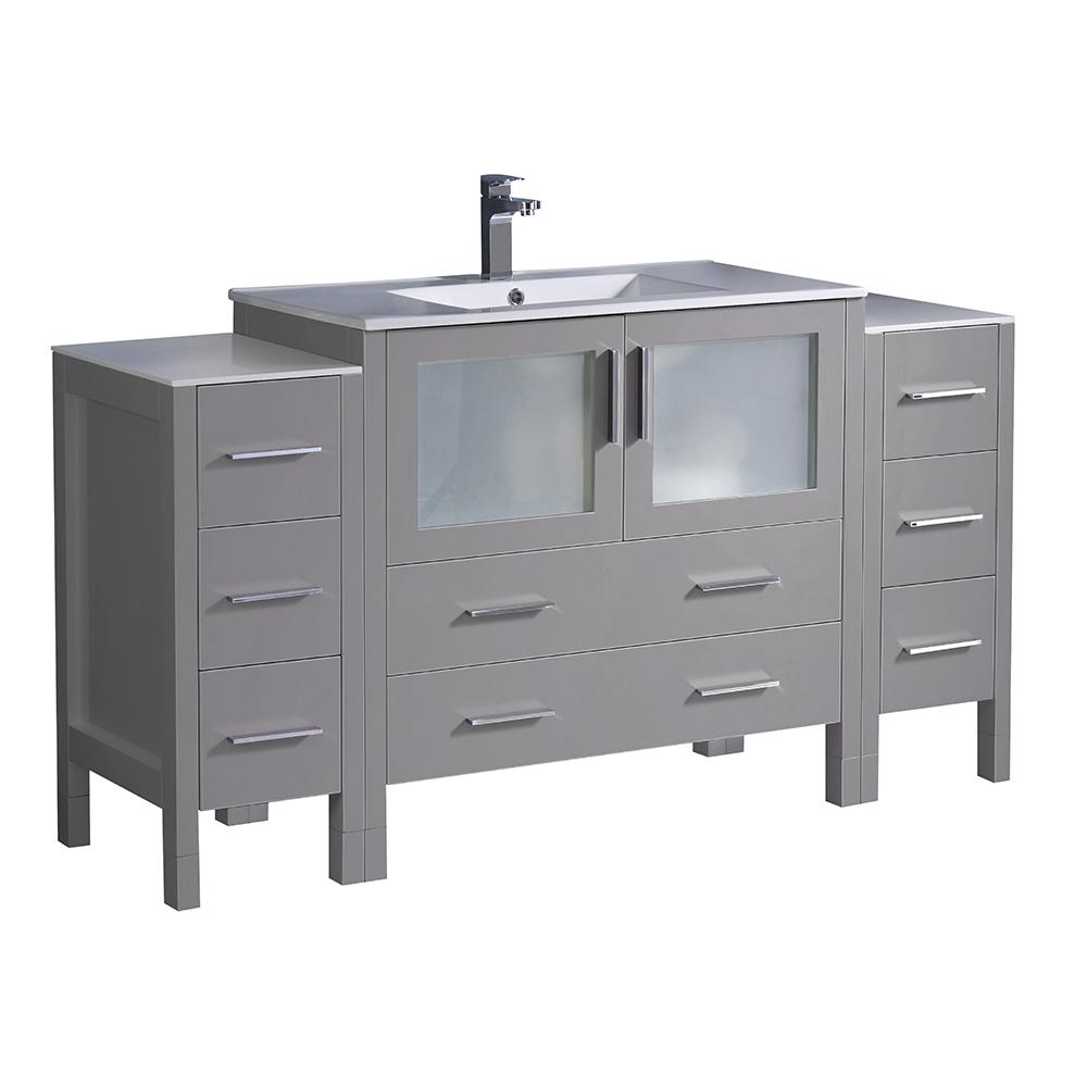 Fresca Torino 60 in. Bath Vanity in Gray with Ceramic Vanity Top in White with White Basin with Side Cabinets