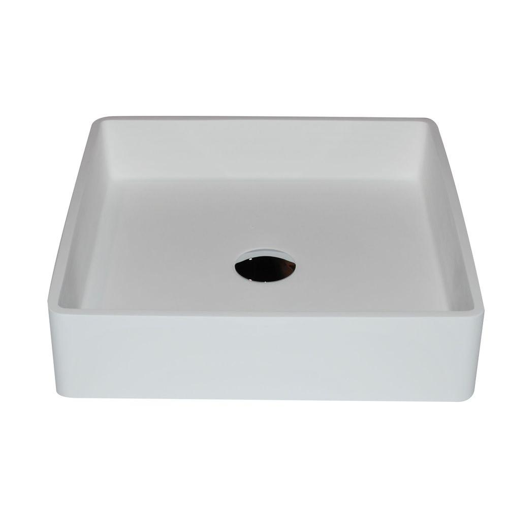 Passage 1-Piece Man Made Stone Vessel Sink with Pop Up Drain