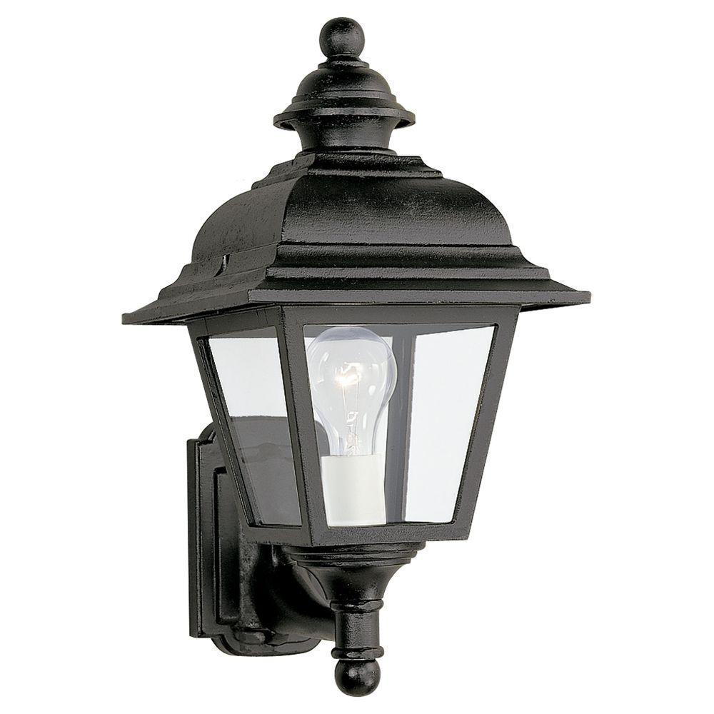 Sea Gull Lighting Bancroft 1-Light Black Outdoor Wall Fixture