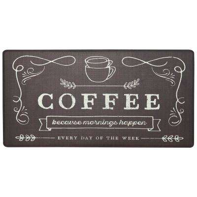 Cook N Comfort Brown Coffee Because 20 in. x 39 in. Kitchen Mat