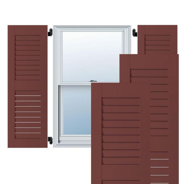 Ekena Millwork 12 In X 54 In Exterior Real Wood Western Red Cedar Louvered Shutters Pair Cottage Red Rwl12x054crw The Home Depot