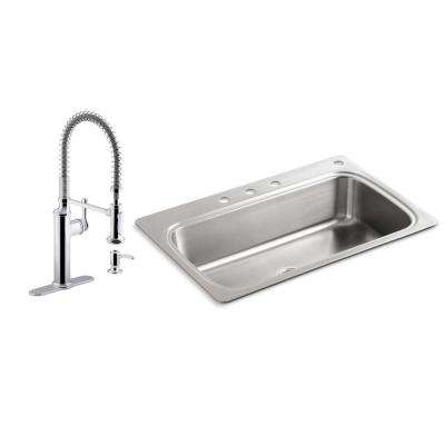 Verse All-in-One Drop-in Stainless Steel 33 in. Single Bowl Kitchen Sink with Sous Kitchen Faucet