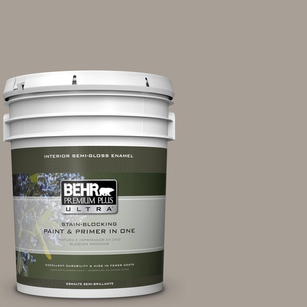 5 gal. #PPU24-09 True Taupewood Semi-Gloss Enamel Interior Paint