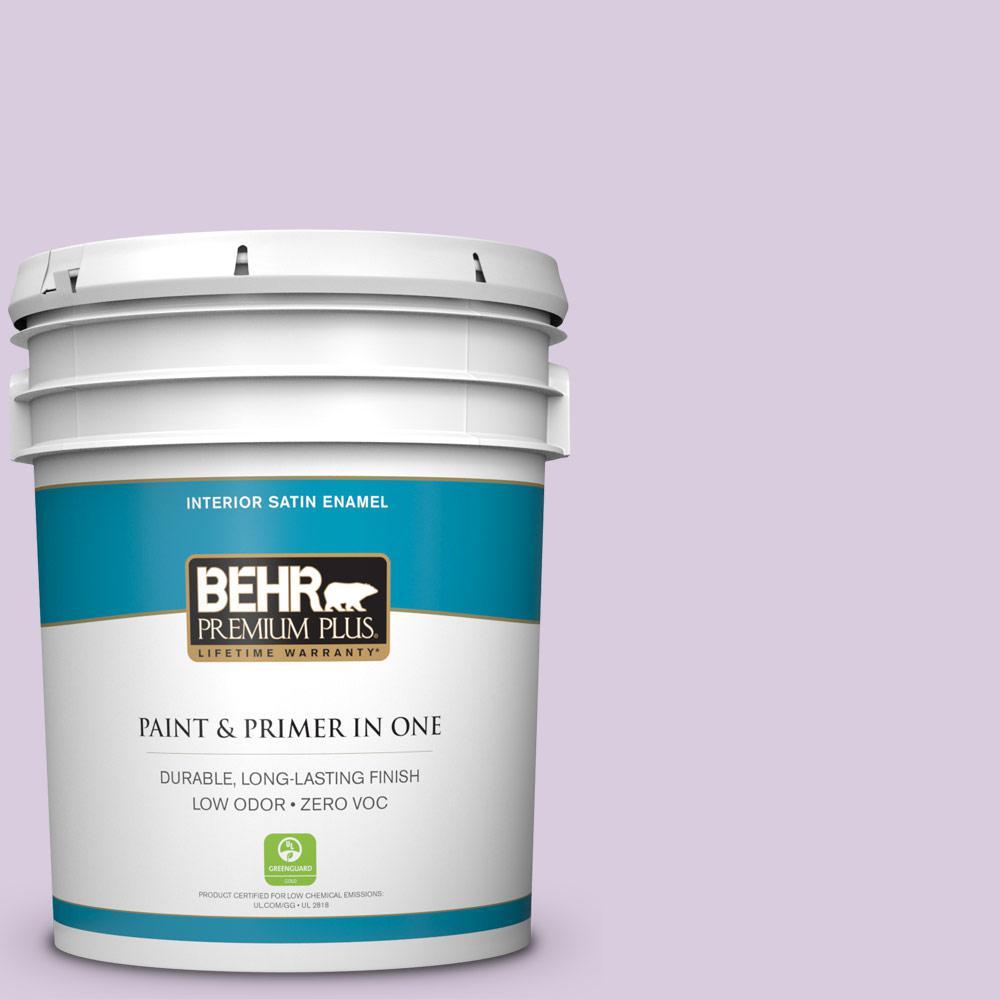 BEHR Premium Plus 5-gal. #660C-2 Violet Mist Zero VOC Satin Enamel Interior Paint
