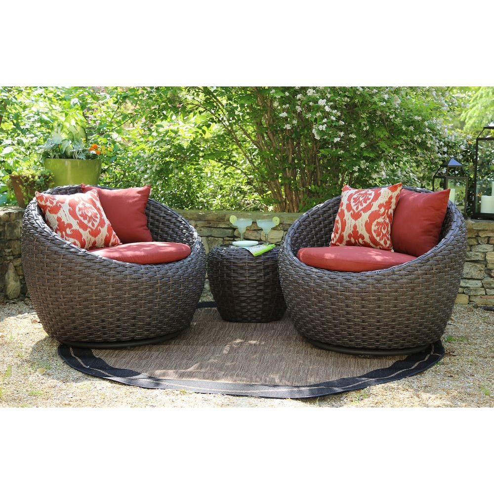 Corona 3-Piece All-Weather Wicker Patio Deep Seating Set with Sunbrella Red - Patio Conversation Sets - Outdoor Lounge Furniture - The Home Depot