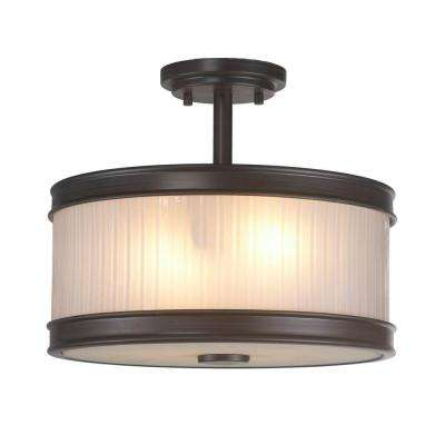 2-Light Oil-Rubbed Bronze Semi-Flush Mount Light with Ribbed Glass Shade