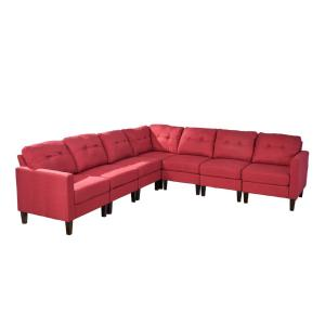 Delilah Mid-Century Modern 7-Piece Red Fabric Extended Sectional Sofa Set