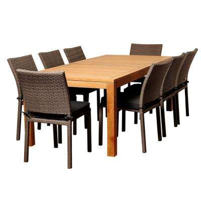 Damian 9-Piece Wood Outdoor Dining Set with Grey Cushions