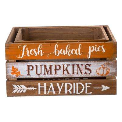 Wooden Pumpkin Crate, L:13.94 in. L, 12.01 in. W, 6.89 in. H, S:11.97 in. L,10.00 in. W, 6.77 in. H Set of 2