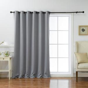 Wide Basic 80 in. W x 96 in. L Blackout Curtain in Grey