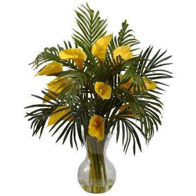 Calla Lily and Palm Combo in Yellow