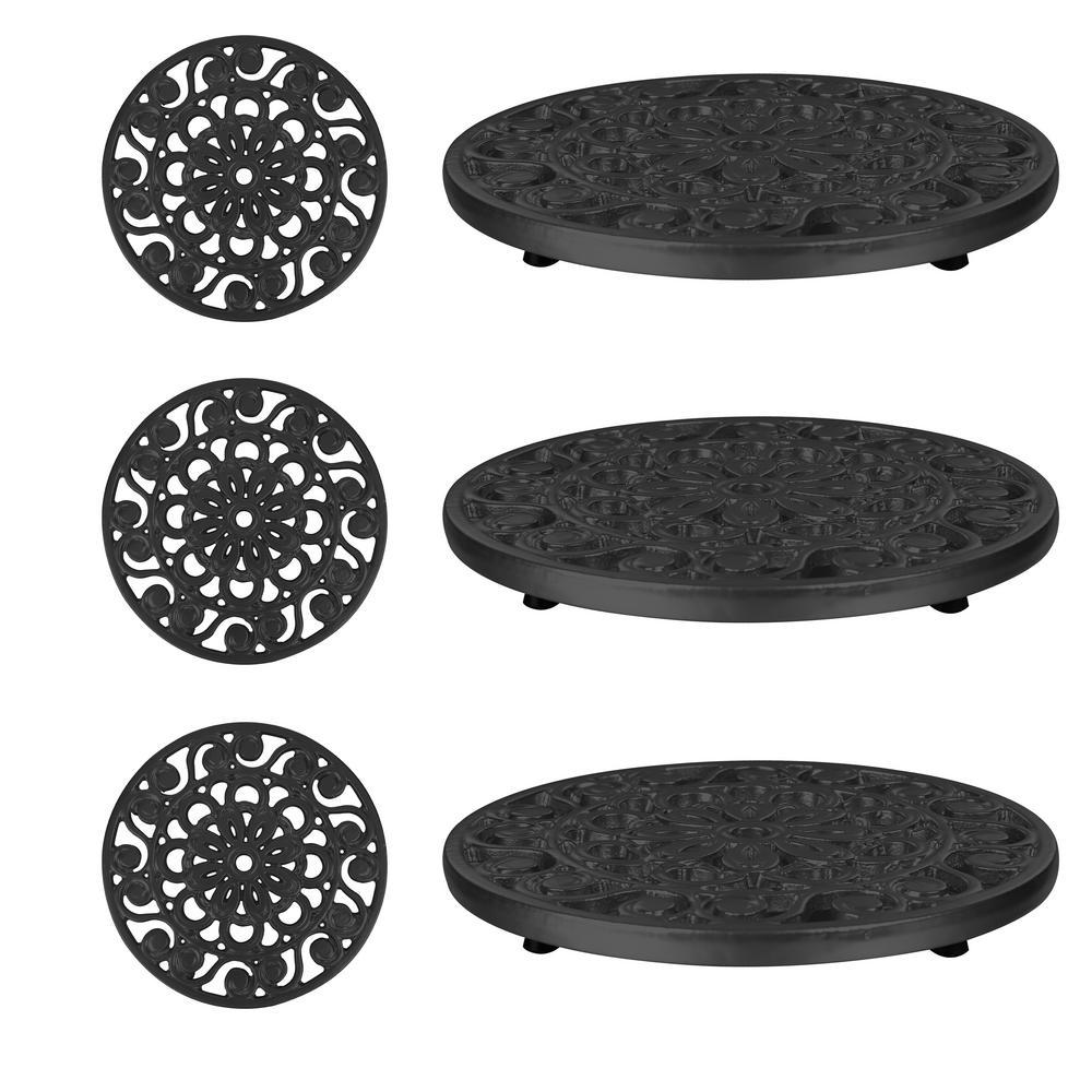Decorative Black Cast Iron Metal Trivets (Set of 3)