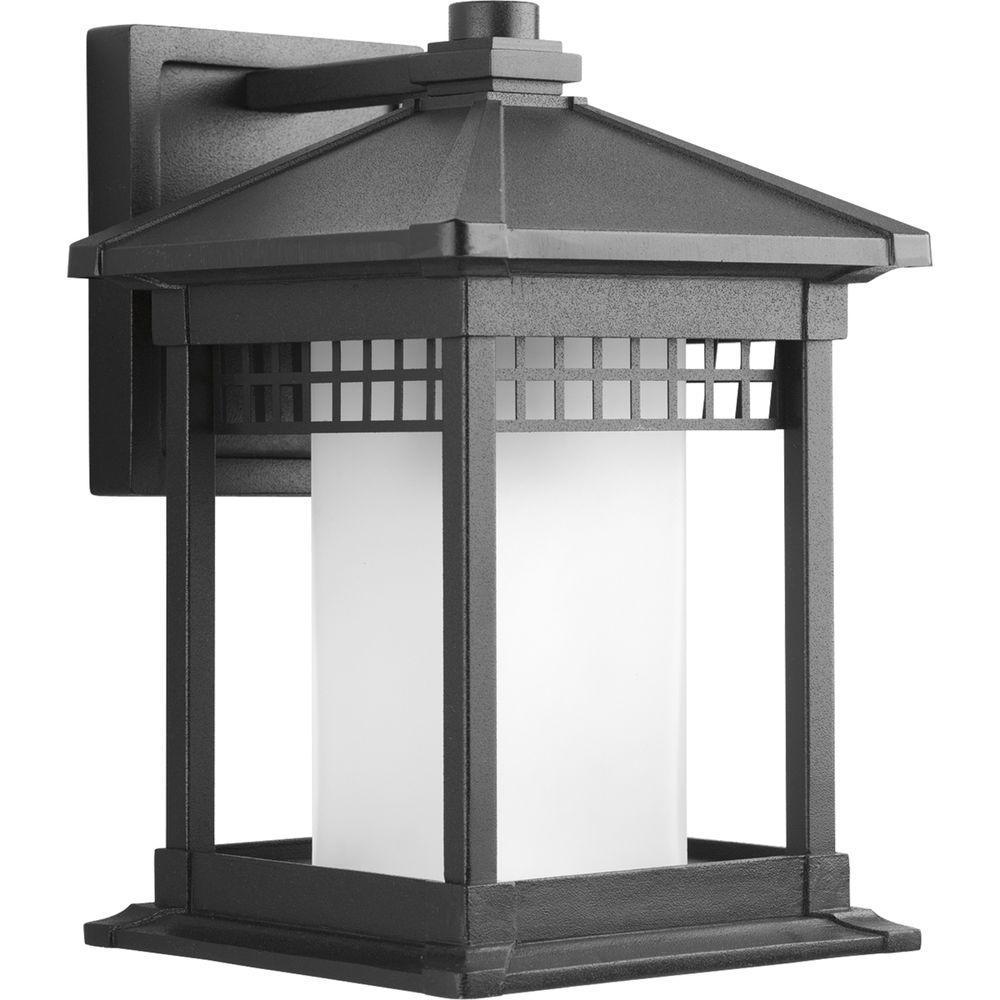 Merit Collection 1-Light Medium Outdoor Black Wall Lantern