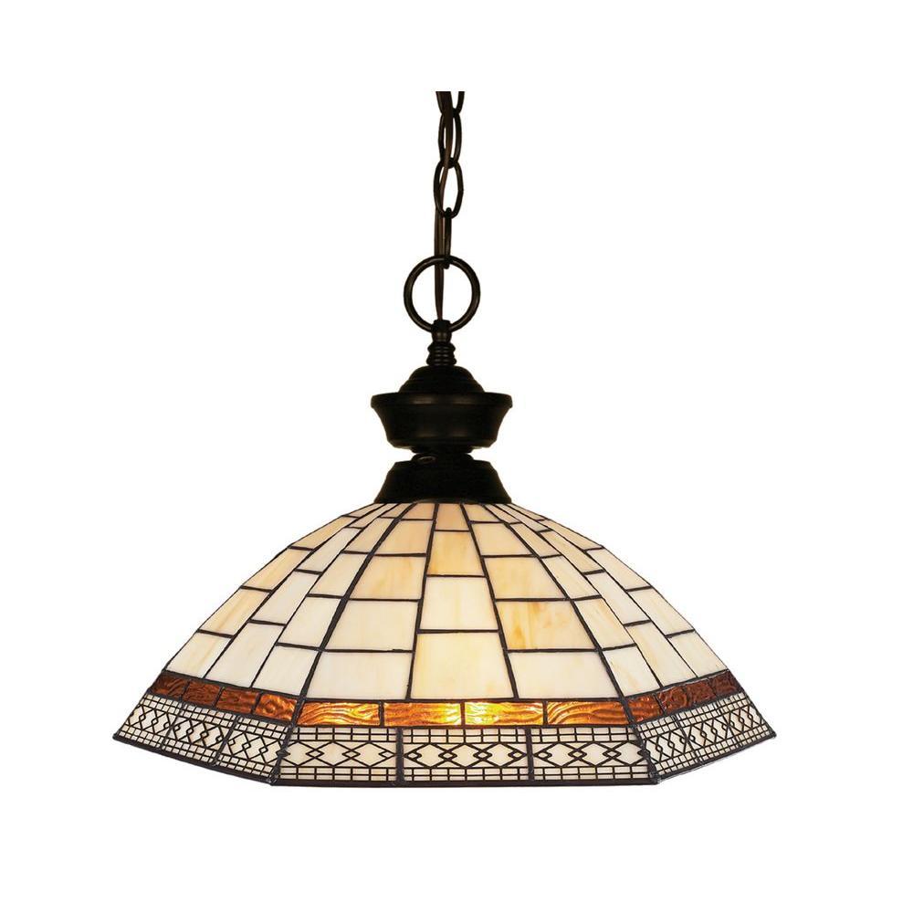 Pyramid 1-Light Bronze Classic Chain Pendant with Multi Colored Bronze Tiffany Glass Shade