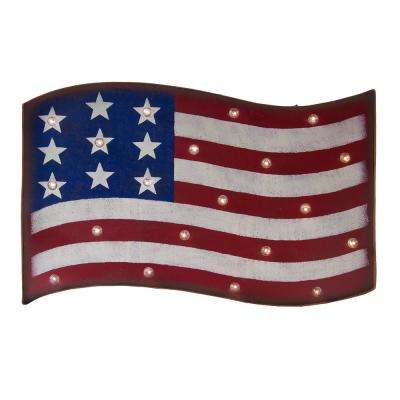 13.94 in. H Marquee Patriotic LED Flag