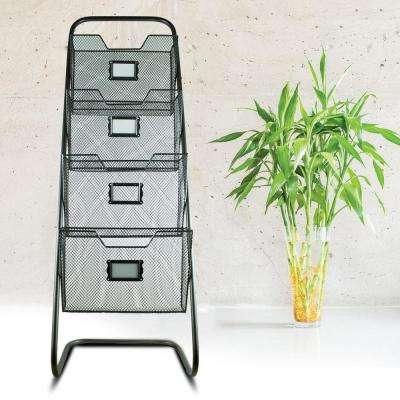 Metal Magazine Rack with Baskets